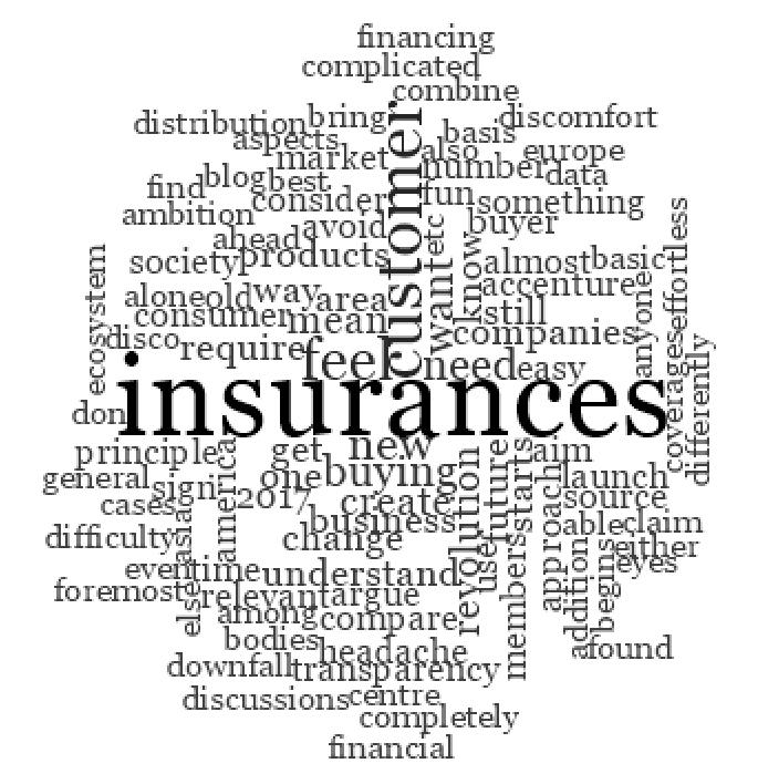 The insurance customer wordcloud